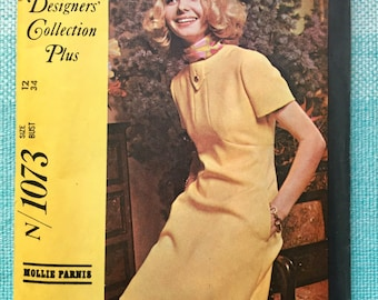 1960s McCall's 1073 Sewing Pattern New York Designers' Collection Plus Mollie Parnis Mod Dress Pockets Panel Neckline Fitted Size 12 Bust 34