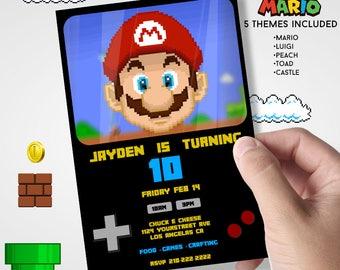 Super Mario Invitation - Includes Mario, Luigi, Peach, Toad, Flag Castle - Retro Gameboy Theme Flyer - Party Card- Nintendo Inspired