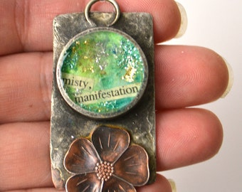 CLEARANCE SALE Handmade OOAK Pendant, Solder Bezel, Copper, Mixed Media Pendant, Artisan Bezel Pendant, Pipe Bezel Charm, Resin Layers
