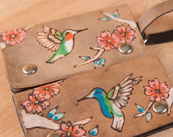 Luggage Tag - Leather in the May pattern with hummingbirds and cherry blossoms - Use as Luggage tag or Business card case