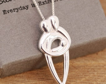 Sterling Silver Family Necklace, Silver New Family Necklace, Baby Shower Gift, Gift for Her, Gift for Mothers, Mother's Day Gift