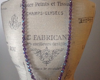 Vintage faceted crystal over the head purple iridescent necklace