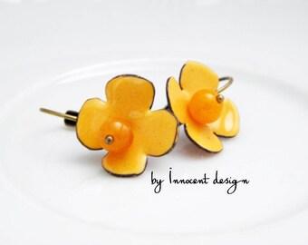 Yellow rose - enamel earrings - flower - rose