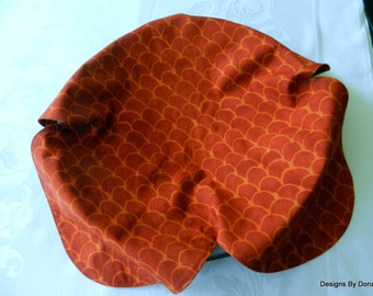 Basket Liner, Table Topper, Bread Cloth, Centerpiece, Rust Color Batik in a Scalloped Design, Handmade Table Linens