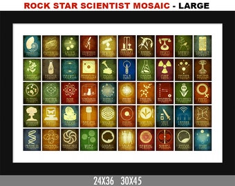 Science Poster Classroom Art. 50 Rock Star Scientists in History. Science Illustration. Office Decor, Science Gift. Scientific Kids Room