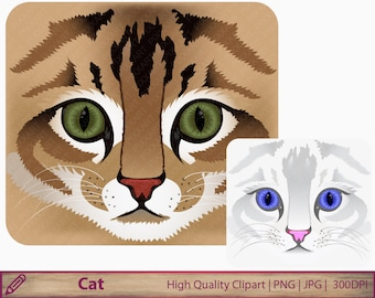 Cat clipart, cat face clip art, cat brown white graphics, scrapbooking, commercial use, digital instant download, png jpg 300dpi