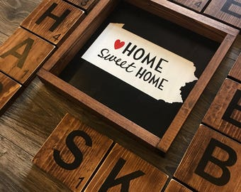Home Sweet Home wall decor. State wall art. Home state decor. Home decor for the place you love to call home. Gallery wall. Texas. Arizona.