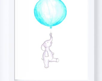 Elephant nursery art- cute baby elephant floating with red balloon, nursery decor print  original illustration drawing