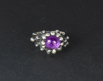 Amethyst Ring - Organic Ring - Gift Amethyst Wife - Natural Ring - Statement Ring - Large Ring - Gift for Mom - Fantasy Ring