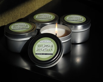 Customizable Scented Candles. Great for wedding favors, thank you gifts,  & promotional giveaways || 4 oz tin || custom scent and label