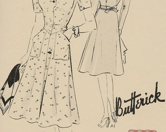 1940s Day Dress/ Frock with Large Pockets Butterick 9204 Vintage Sewing Pattern Size 14 Bust 32