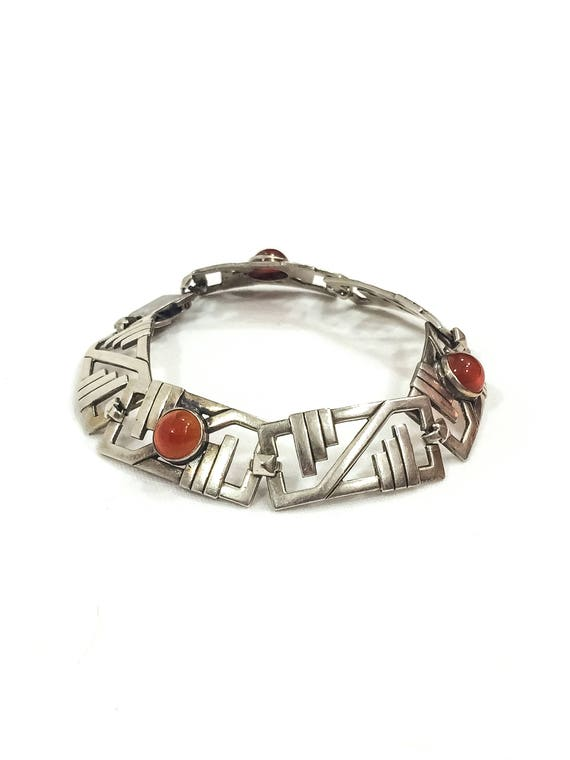Sterling Silver Carnelian Art Deco Bracelet, Contemporary Geometric Design, Unsigned WE Richards, Vintage Semiprecious Gemstone Jewelry