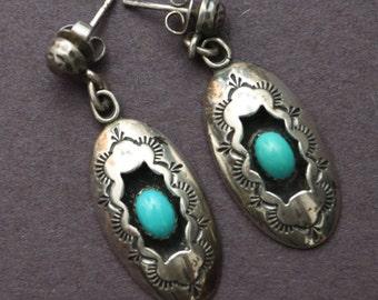 Native American Navajo Turquoise Shadowbox Earrings  #LV-15