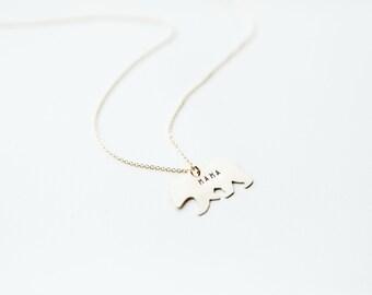 Mama Bear Necklace // Brass