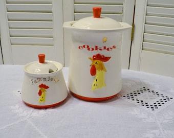 Vintage Howard Holt Rooster Cookie Jar and Jelly Jar Bowl Coq Rougue 1961 Kitsch Kitchen Decor PanchosPorch