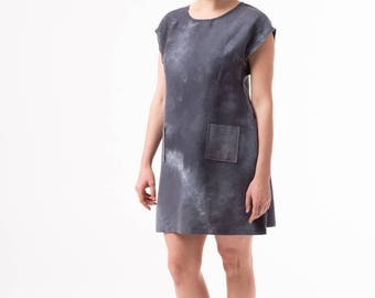 Hemp/Silk A-Line Shift Dress in Gray Tie-Dye - Hand-Dyed, Sustainable, Artisan Made in USA