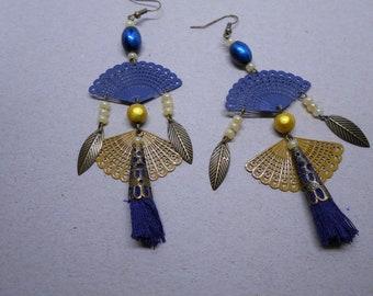 Ethnic earrings, Navy and mustard range