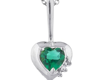 Emerald & Diamond Heart Pendant .925 Sterling Silver