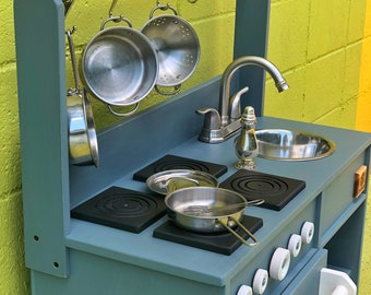 Kids Play Kitchen with Pot Rack