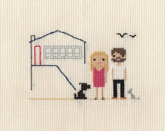 New Home Custom Cross Stitch Portrait in Pixel Art Style (Framed)
