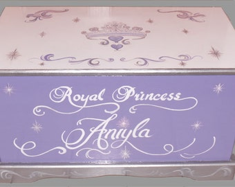 Princess Tiara Toy Chest Custom Designed,  wooden toy chest, kids furniture