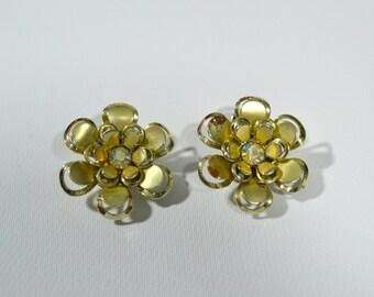 1960s Gold Tone Flower Rhinestone Center Clip on Earring Signed Coro, Dress Up