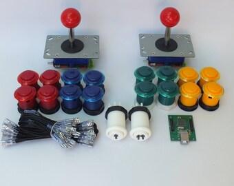 Arcade Machine Joysticks & Buttons Plus USB Interface with full wiring - DIY Arcade Machine.