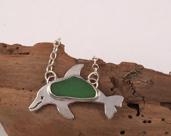 Sea Glass Necklace, Dolphin Necklace, Sterling Silver Necklace, Sea Glass Jewelry, Dolphin Jewelry, Beachy Necklace, Silver Pendant