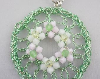 Dainty Daisy Wreath -- Wire Wreath with Crystal Flowers