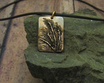 Bronze and Leather Necklace, Antique Bronze Necklace, Rustic Bronze Necklace, Ornamental Grasses Necklace, Wild Grass Necklace, Organic