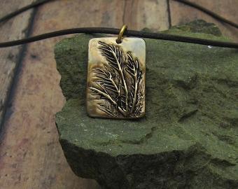 Bronze und Leder Halskette, antike Bronze Halskette, rustikale Bronze Halskette, dekorative Gräser, Süßgräser Halskette, Bio