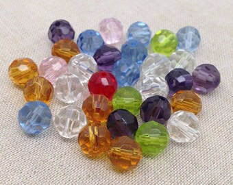 25 Mixed Vintage Faceted Glass Beads 8mm