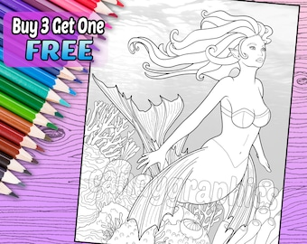 Mermaid - Adult Coloring Book Page - Printable Instant Download