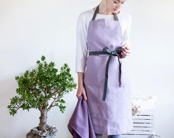 Lilac Linen Apron with pockets and long adjustable straps  - Use with your imagination