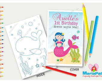 6 Mermaid Coloring Books, Under The sea Birthday Party, Personalized Coloring Books Party Favors  A1207