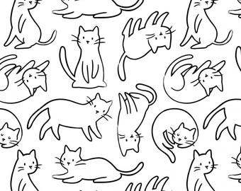 Meow cotton fabric with cats on white background by Camelot fabric 21170101