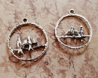 Bird Charms Love Birds Charms Bird Pendants Antiqued Silver Charms Caged Bird Charms 10 pieces CLEARANCE was 3.38