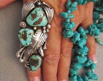 """Gorgeous Navajo old pawn genuine Indian Mountain Turquoise & Sterling Ring>3 1/8"""" long>3 eye popping Stones>Robin's Egg Blue> -JNR020"""