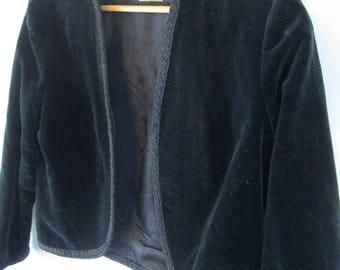 Vintage 1950s Black Velvet Bolero Jacket Junior Miss of California Soft Open Coat
