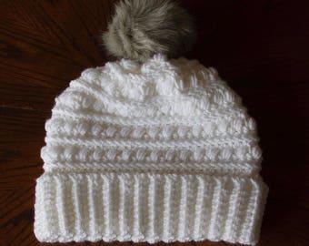 White Addison Beanie- Women's Beanie with Fur Pom Pom- Winter Hat