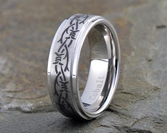 Cobalt Wedding Band, Mens Wedding Band, Mens Ring, Custom Made, Rings, Bands, Beveled Edge, 7mm, Handmade, Brushed, Size, Anniversary