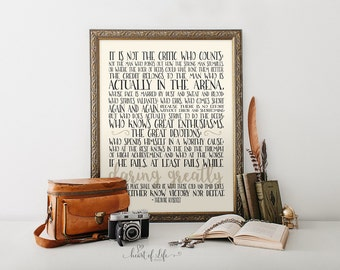 Printable art, Office quote print, Theodore Roosevelt quote, Inspirational quote, Motivational quote, Quote print, HEART OF LIFE Design