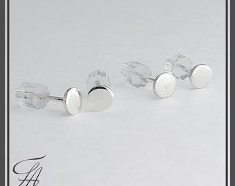 3mm, Flat Disc Studs, Tiny Earrings, Modern Jewelry, Round Disc Studs, Post Earrings, Sterling silver, Stud Earrings, Minimalist Earrings