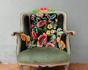 Bohemian Embroidery Armchair Flowers and Woodwork, Magical Fairy tale Furniture Vintage Embroidery, Punch Needle Embroidery, Hand Painted