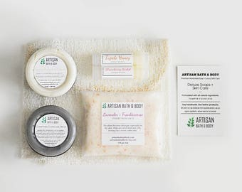 Spa Gift Set | Exfoliate and Nourish, Skin Care Kit, Sample Pack, Travel Sizes, Bath Salts, Charcoal Mask, Organic Calendula Cream, Lip Balm