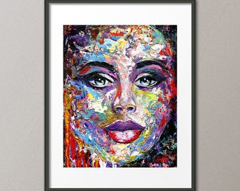 Fine Art Prints Figurative People Portrait Woman Faces Love Heart Abstract Contemporary Modern Giclee Elena