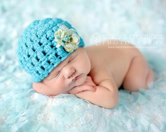 Newborn Baby Girl Hat with Flower, Chunky Cap, Infant Beanie, Photography Prop, Homecoming, Blue