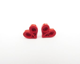 Quilled Earrings, Quilled Love Hearts, Quilled Hearts, Heart Earrings, Heat Stud Earrings, Red Hearts, Quilled Jewellery, Pinup Earrings