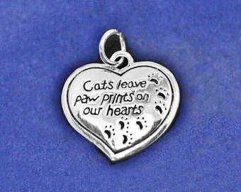 Cat Charm Pendant Sterling Silver Plt Cats Leave Paw Prints on Our Hearts Memorial Gift Kitty Lover Kitten Necklace Bracelet Earrings Option