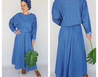 Vintage Dress / Denim Dress / Jean Dress / Cotton Dress M/L